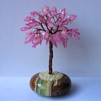 Дерево счастья из розового кварца в чаше из оникса
