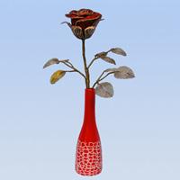 Красная роза из бисера в вазочке