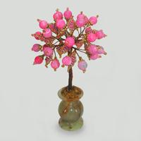 Дерево любви из бисера и розового агата в вазочке из оникса