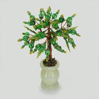 Дерево любви из хризолита в вазочке из оникса