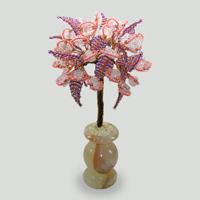 Дерево из розового кварца Иллюзия в вазочке из оникса