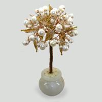 Дерево из жемчуга Будьте счастливы в вазочке из оникса