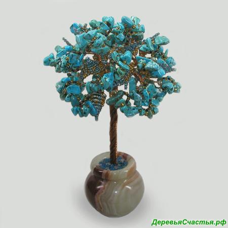 Дерево из бирюзы Мин в стиле Ар Нуво в вазочке из оникса