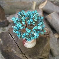 Купить изделия из бирюзы. Дерево из бирюзы Мин в стиле Ар Нуво в вазочке из оникса
