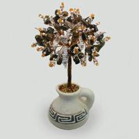 Дерево из тигрового глаза в вазочке из белой глины