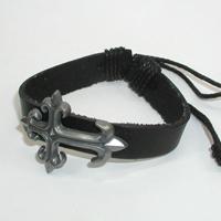 Купить кожаный браслет Ратибор с крестом. Купить мужские и женские кожаные браслеты