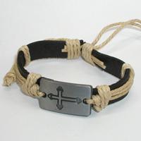Купить кожаный браслет Любовид с крестом. Купить мужские и женские кожаные браслеты