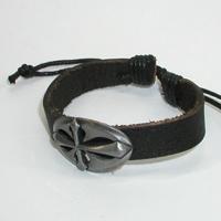 Купить кожаный браслет Добровит с крестом. Купить мужские и женские кожаные браслеты