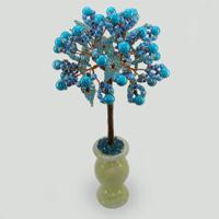 Дерево из бирюзы Бирюзовый цвет в вазочке из оникса
