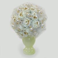 Цветы из жемчуга Жемчужное вдохновение в вазочке из оникса