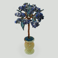Миниатюрное дерево из лазурита Богиня ночи в вазочке из оникса