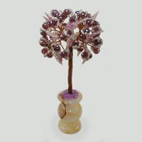 Дерево из раухтопаза Мелодия камня в вазочке из оникса