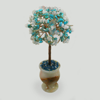 Дерево из бирюзы и лунного камня Пенная волна