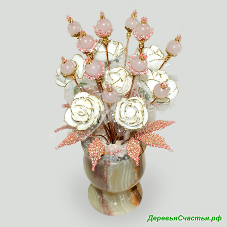 Цветы из розового кварца Праздник любви