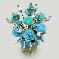 Цветы из бирюзы и кахолонга (молочного опала) «Богине»