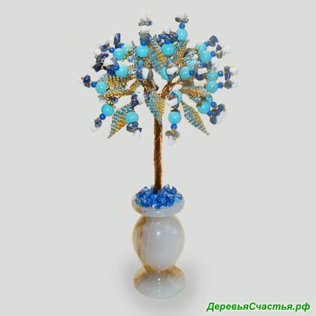 Дерево из бирюзы, кахолонга и лазурита